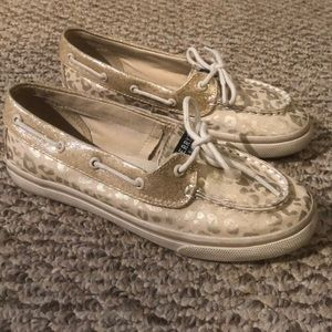 Sperry sparkle cheetah boat shoe